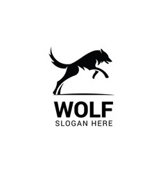 Jumping wolf logo template isolated on white vector