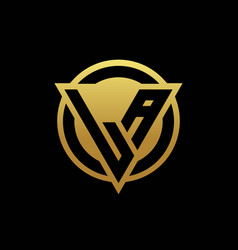 La logo monogram with triangle shape and circle vector