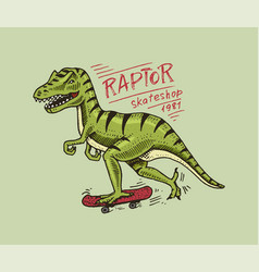 label for skateboarding skater dinosaur vector image