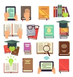 Library books reading flat icons vector image
