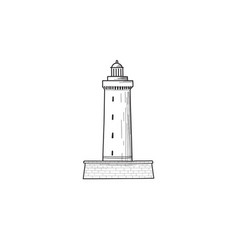 lighthouse icon hand drawn sketch symbol of vector image