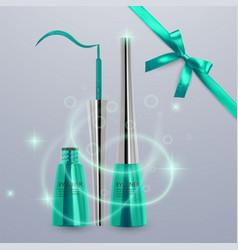 Liquid eyeliner set of bright green color vector