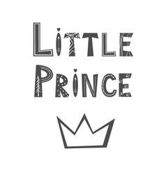 Little prince lettering poster in scandinavian vector