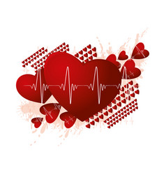 Medicine and cardio concept with red hearts vector