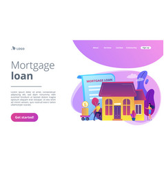 Mortgage loan concept landing page vector