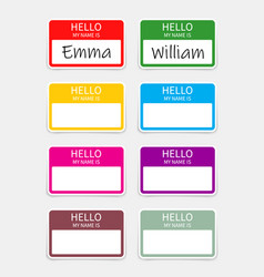 Name badge tag hello sticker or card with my vector