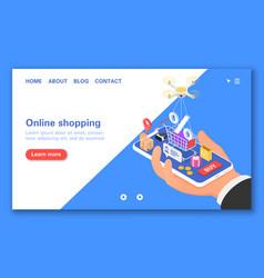 Online shopping through the mobile app 24-hour vector