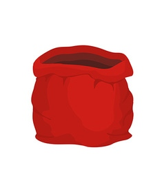 Open empty sack Santa Claus Red big bag for gifts vector image