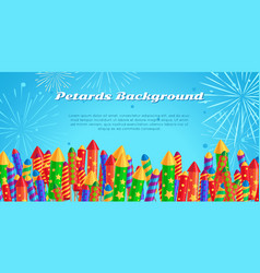 Petards background salute elements fireworks set vector