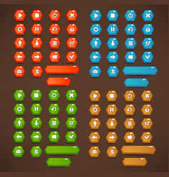 Red blue green and brown mobile game ui vector