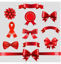 red ribbon bow set transparent background vector image