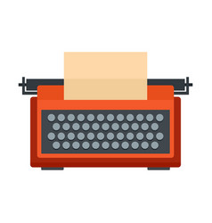 red typewriter icon flat style vector image