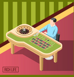 Rich man in casino isometric background vector