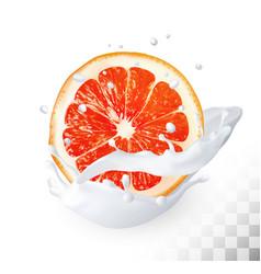 ripe grapefruit in a milk splash on a vector image