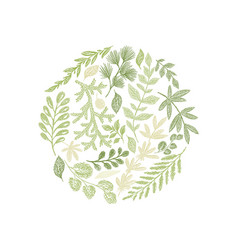 Round green floral hand drawn composition vector