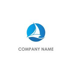 Sailing boat yacht logo vector