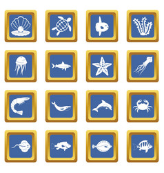 Sea animals icons set blue vector