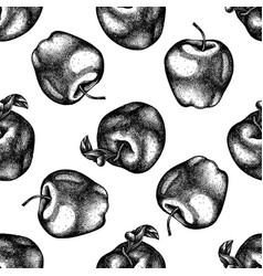seamless pattern with black and white apples vector image