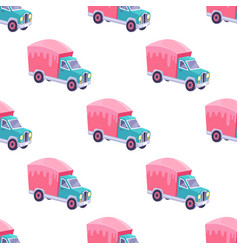 Seamless pattern with color sweet truck isolated vector