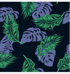 seamless pattern with tropical palm and monstera vector image