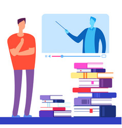 self education with books and online courses vector image