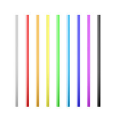 set colorful drinking straws straws for vector image