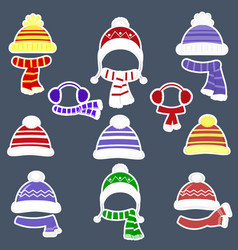 Set of nine different stickers of hats and scarves vector