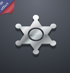 Sheriff star icon symbol 3D style Trendy modern vector image