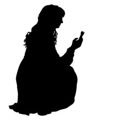 Silhouettes woman taking selfie with smartphone vector