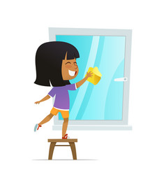 Smilind girl washing window concept of montessori vector