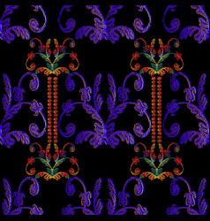 striped embroidery baroque seamless pattern vector image