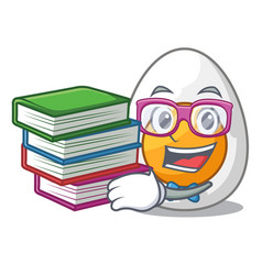 Student with book freshly boiled egg isolated on vector
