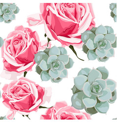 succulents and pink roses seamless pattern vector image