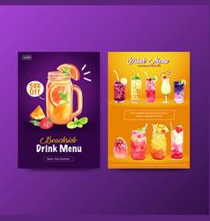 Summer drink menu template design for cocktail vector