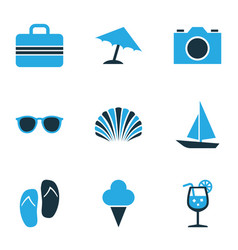 Sun colorful icons set collection of boat camera vector