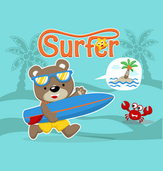 surfer cartoon with little friends vector image