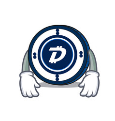 Tired digibyte coin mascot cartoon vector