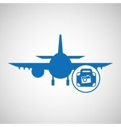 travel concept camera and suitcase silhouette vector image