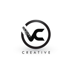 Vc brush letter logo design creative brushed vector