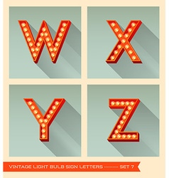 Vintage light bulb sign letters w x y z vector image