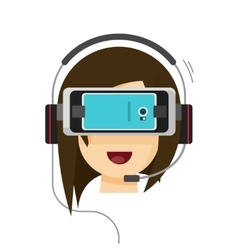 Virtual reality glasses and woman head isolated on vector