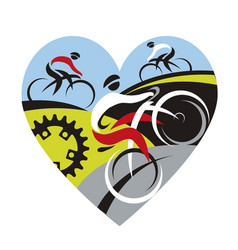 we love cyclingheart symbol vector image