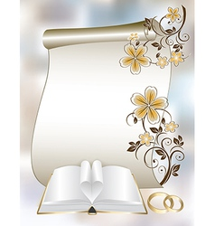Wedding card with a floral pattern and book vector