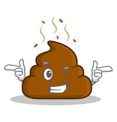 Wink poop emoticon character cartoon vector