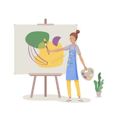 woman artist painting vector image
