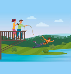 Woman doing bungee jumping with the friends vector