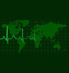 World map with cardio pulse concept vector