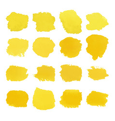 Yellow blots watercolor set vector
