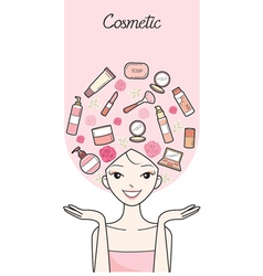 Young Woman With Cosmetics Beauty Icons On Head vector image