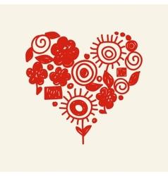 cute doodle heart vector image vector image